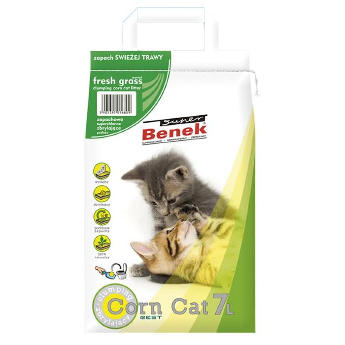 Kukurūzas pakaiši kaķu tualetei - Super Benek Corn Cat Fresh Grass, 7 L