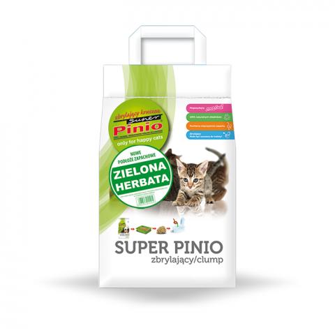 Древесный наполнитель для кошачьего туалета - Super Pinio Kruszon Green Tea, 7 л title=