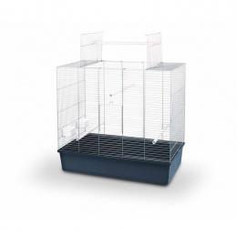 Būris putniem – Ellen Open, hrom and dark blue, 80 x 45 x 70 cm