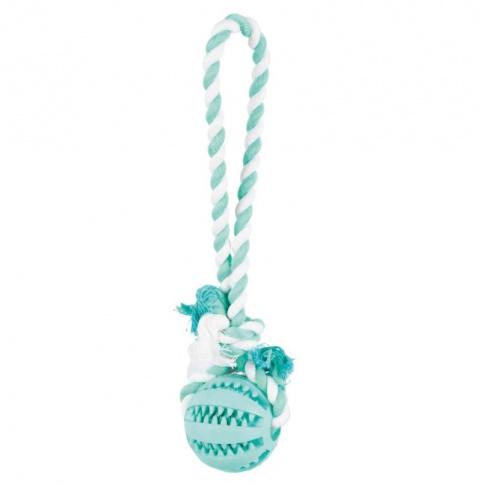 Rotaļlieta suņiem – TRIXIE Mintfresh Ball on a rope, natural rubber, 24 cm title=