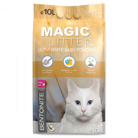 Цементирующий песок для кошачьего туалета - Magic Litter Bentonite Ultra White Baby Powder, 10 л title=