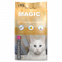 Цементирующий песок для кошачьего туалета - Magic Litter Bentonite Ultra White Baby Powder, 10 л
