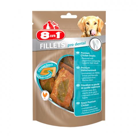 Gardums suņiem - 8in1 Delicacy Fillets Pro Dental, 3 gab., 80 g title=