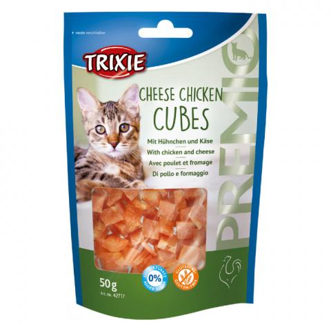 Gardums kaķiem - TRIXIE PREMIO Cheese Chicken Cubes, 50 g title=