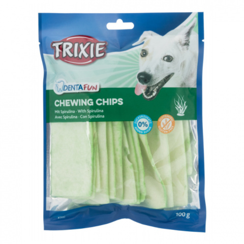 Лакомство для собак - TRIXIE Chewing Chips with Spirulina Algae, 100 г title=