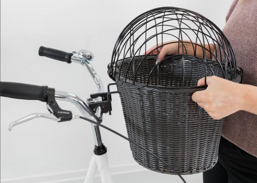 Velosipēda grozs dzīvnieku transportēšanai - TRIXIE Front bicycle basket, 44*34*41 cm, grey