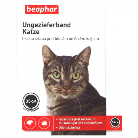 Kaklasiksna pret blusām, ērcēm kaķiem – Beaphar Ungezieferband, 35 cm, melna, bezrecepšu vet.zāles - reģ. NR VA - 072463/3 title=