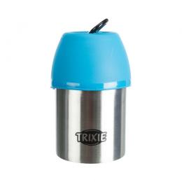 Ceļojumu ūdens pudele – TRIXIE Bottle with Bowl, Stainless Steel/Plastic, 300 ml