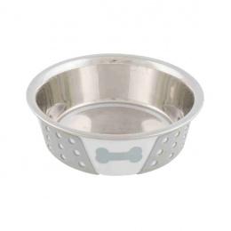 Миска для собак – TRIXIE Stainless Steel Bowl with Silicone, 0,75 л/17 см, White/Grey