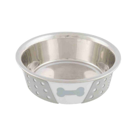 Миска для собак – TRIXIE Stainless Steel Bowl with Silicone, 0,4 л/14 см, White/Grey title=