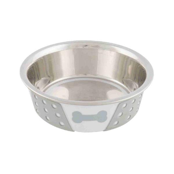 Миска для собак – TRIXIE Stainless Steel Bowl with Silicone, 0,4 л/14 см, White/Grey