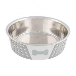 Миска для собак – TRIXIE Stainless Steel Bowl with Silicone, 1,4 л/21 см, White/Grey