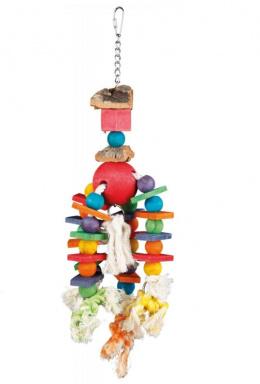 Деревянная игрушка для птиц - Wooden toy with rope, 35 см