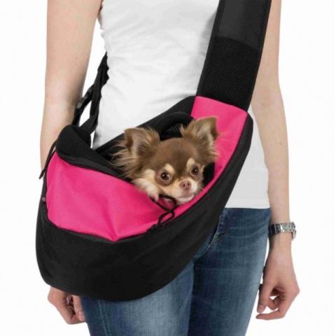 Soma dzīvnieku pārnēsāšanai – Trixie, Sling Front Carrier, 50 × 25 × 18 cm, pink/black title=