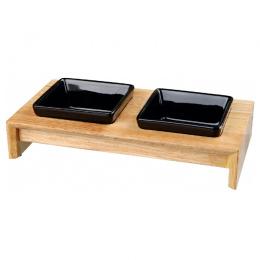 Paliktnis ar bļodām – TRIXIE Bowl Set, Ceramic/Wood, 36 x 19 x 7 cm