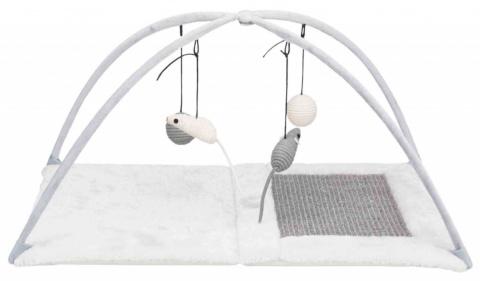 Spēļu laukums kaķiem - Scratching Mat with toys on string  title=