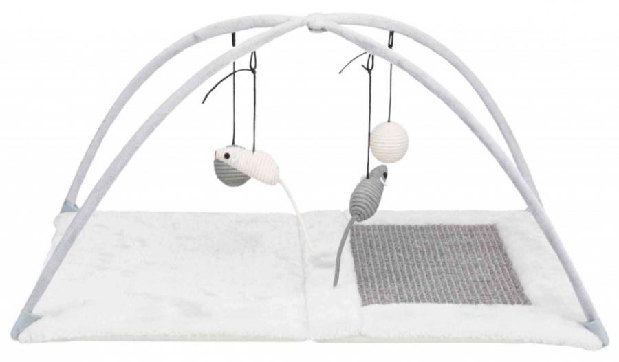 Spēļu laukums kaķiem - Scratching Mat with toys on string