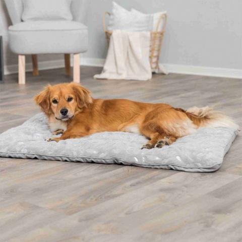 Guļvieta suņiem – TRIXIE Feather Blanket, 100 x 70 cm, Grey/Silver title=