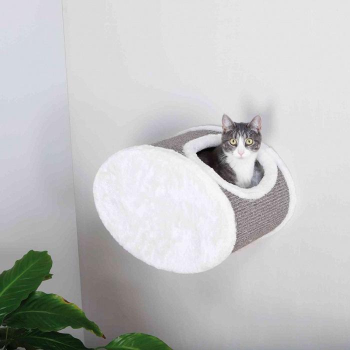 Спальное место для кошек – TRIXIE Wall Mounting Cuddly Cave, 42 x 29 x 28 см, White/Grey