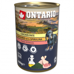 Консервы для щенков – Ontario Puppy Chicken Pate, Spirulina and Salmon oil, 400 г