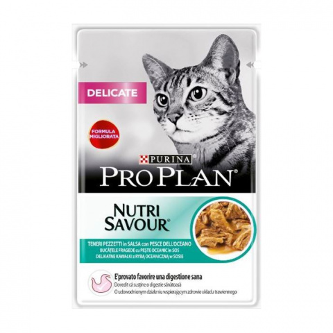 Консервы для кошек – PRO PLAN DELICATE с морской рыбой, 85 г title=