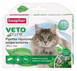 Līdzeklis pret blusām, ērcēm, odiem kaķiem – Beaphar Spot on Veto pure, 3 gab.