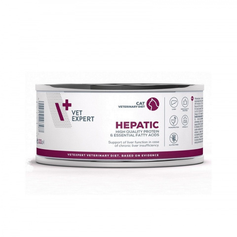 Veterinārie konservi kaķiem – VetExpert 4T VD HEPATIC, 100 g title=