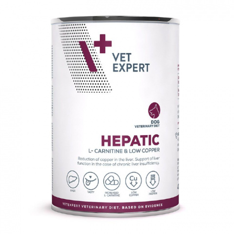 Veterinārie konservi suņiem – VetExpert 4T VD HEPATIC, 400 g title=