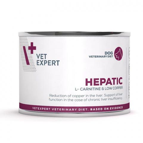 Veterinārie konservi suņiem – VetExpert 4T VD HEPATIC, 200 g title=