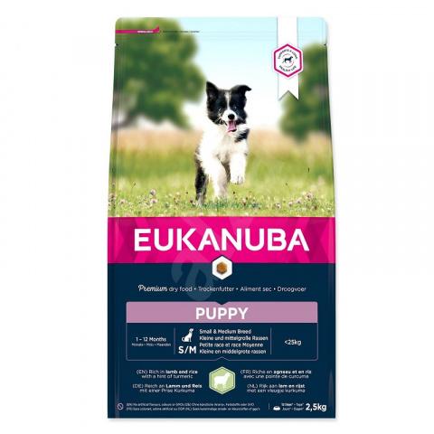Корм для щенков - Eukanuba Puppy Small and Medium Breed, Lamb and Rice, 2,5 кг title=