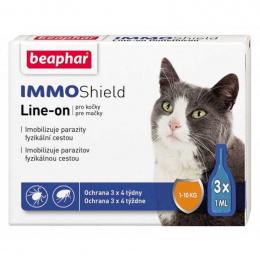 Līdzeklis pret blusām, ērcēm kaķiem - Beaphar, IMMO SHIELD, LINE-ON Cat, 3 pipetes