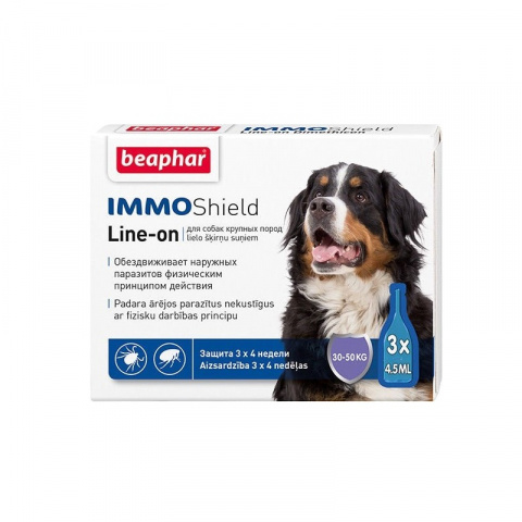 Līdzeklis pret blusām, ērcēm suņiem - Beaphar IMMO SHIELD, LINE-ON Large Dog, 3pip. title=