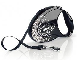 Поводок-рулетка для собак – Flexi Glam Splash Crystal M 5 м, Tape, Black