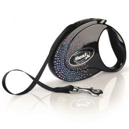 Поводок-рулетка для собак – Flexi Glam Splash Mystic S 3 м, Tape, Black