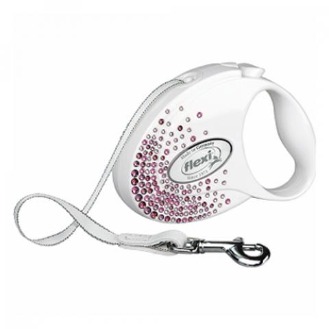 Поводок-рулетка для собак – Flexi Glam Splash Pink S 3 м, Tape, White title=