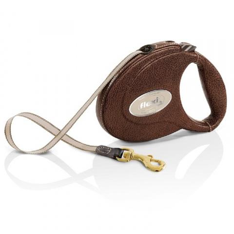 Поводок-рулетка для собак – Flexi Leather CC, Brown title=
