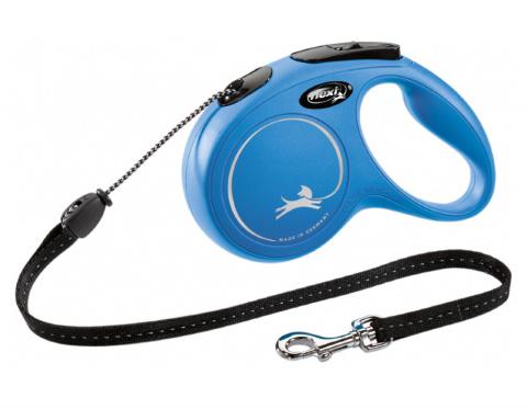 Поводок-рулетка для собак – FLEXI New Classic Cord Leashes M 5 м, Blue title=