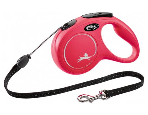 Поводок-рулетка для собак – Flexi New Classic Cord Leashes M 5 м, Red title=