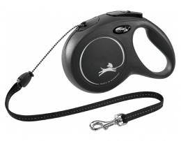 Inerces pavada suņiem – Flexi New Classic Cord Leashes M 8 m, Black