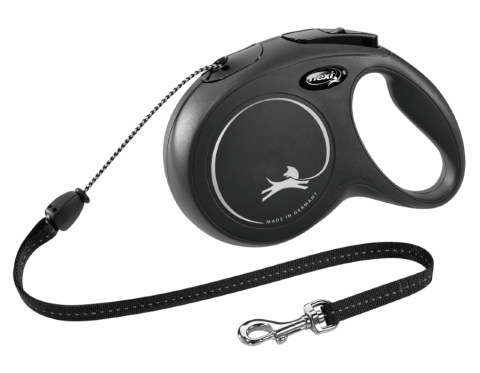 Поводок-рулетка для собак – Flexi New Classic Cord Leashes M 8 м, Black title=