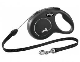 Поводок-рулетка для собак – Flexi New Classic Cord Leashes S 8 м, Black