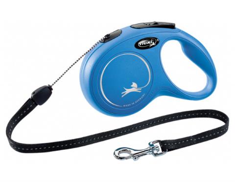 Поводок-рулетка для собак – Flexi New Classic Cord Leashes S 8 м, Blue title=
