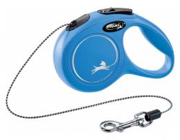 Поводок-рулетка для собак – Flexi New Classic Cord Leashes XS 3 м, Blue