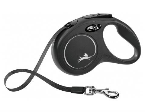 Inerces pavada suņiem – Flexi New Classic Tape Leashes S 5 m, Black title=