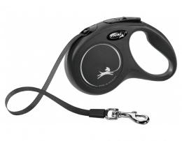 Поводок-рулетка для собак – Flexi New Classic Tape Leashes S 5 м, Black
