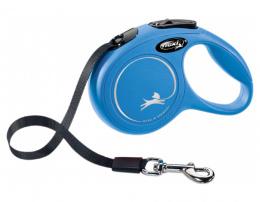 Поводок-рулетка для собак – Flexi New Classic Tape Leashes S 5 м, Blue