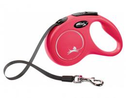 Поводок-рулетка для собак – Flexi New Classic Tape Leashes S 5 м, Red