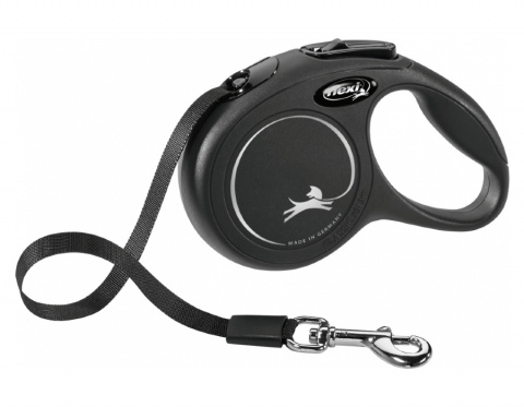 Inerces pavada suņiem – Flexi New Classic Tape Leashes XS 3 m, Black title=