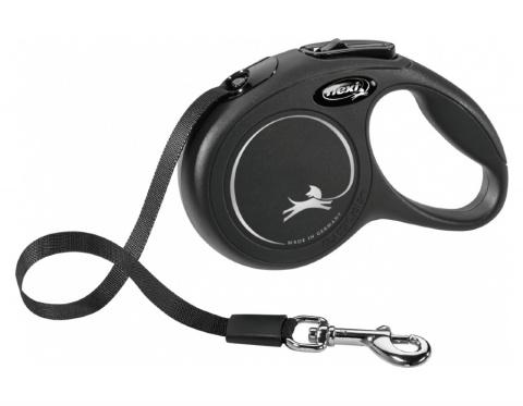 Поводок-рулетка для собак – Flexi New Classic Tape Leashes XS 3 м, Black title=