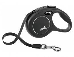 Поводок-рулетка для собак – Flexi New Classic Tape Leashes XS 3 м, Black